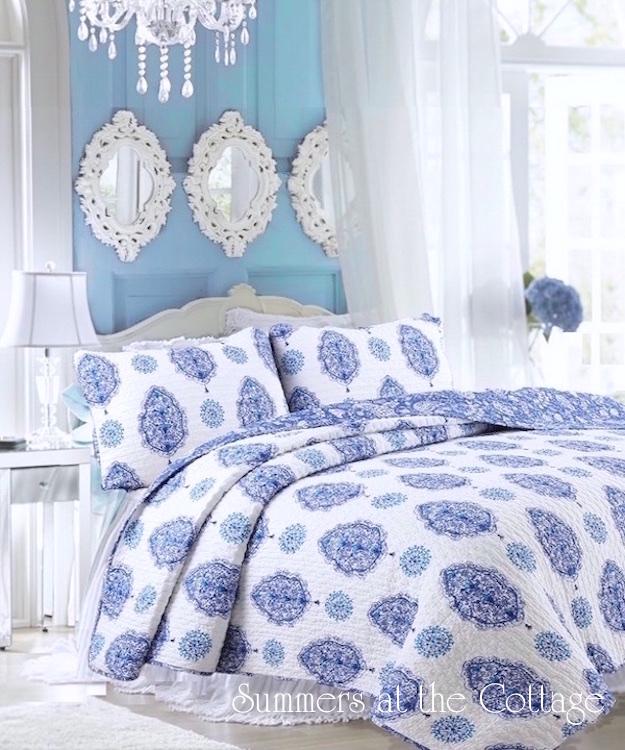 Savannah Blue Paisley Quilt set