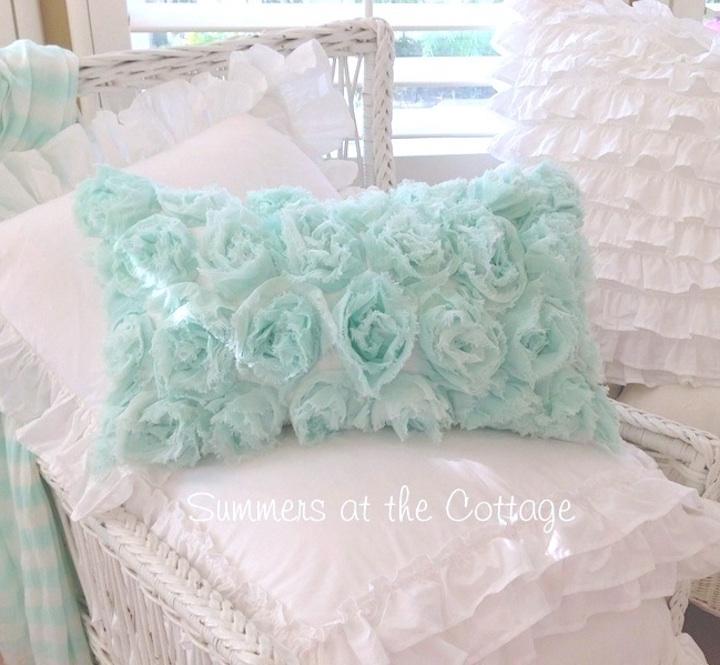 Beach Seaglass Roses Pillow