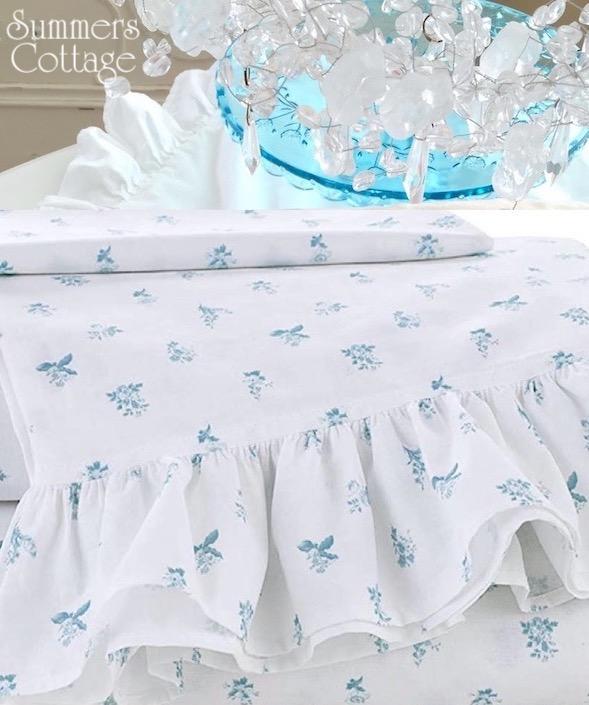 Seaport Blue Petite Posies Ruffled Sheet Set