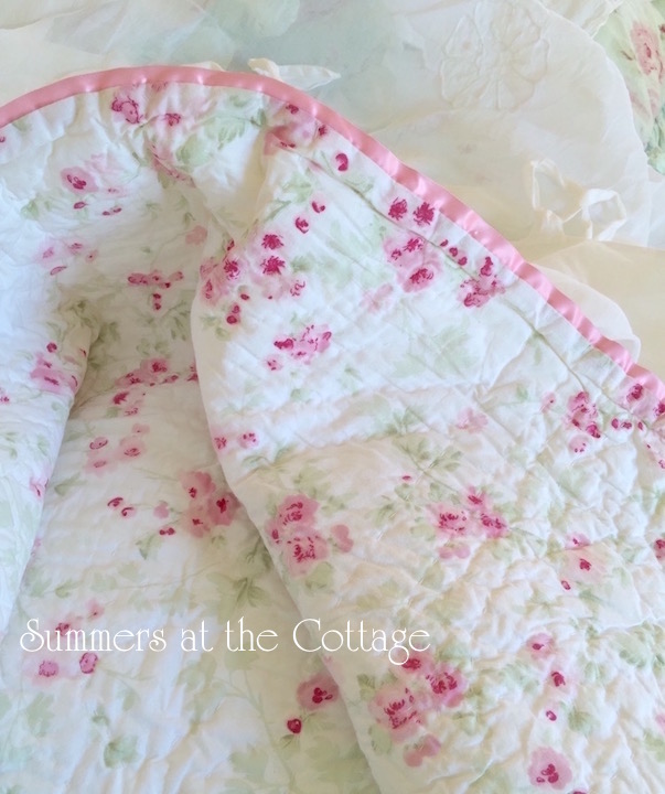 Baby Pink Shabby Chic Satin Trim Cherry Blossom Quilt