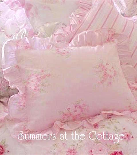 Shabby Chic Pink Corsage Ruffled Pillow Sham