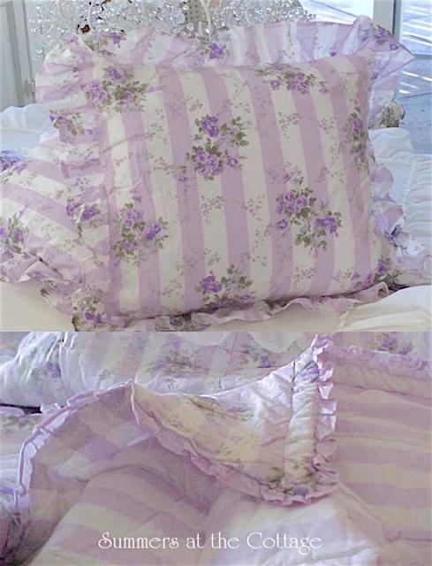 Lavender Roses Cabana Stripes Comforter Set