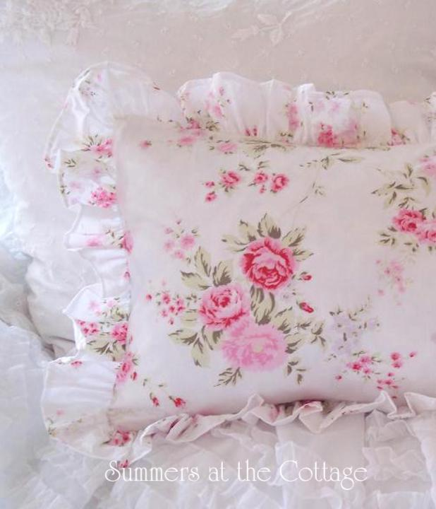 Wildflower Roses Ruffled Euro Shams