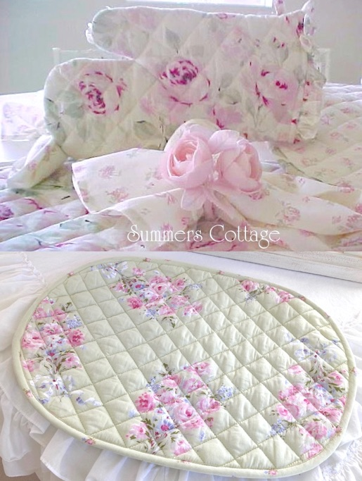 Shabby Chic Rachel Ashwell Pink Roses Placemats and Oven Mitts