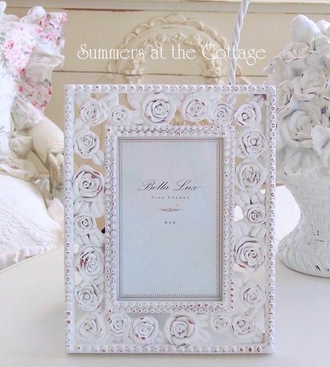White Trellis Roses Picture Frame