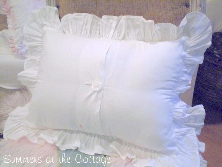 Shabby Chic Poplin White Ruffle Pillow Sham