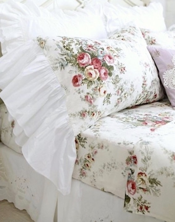 French Country Cottage Roses Ruffle Pillowcases Shams