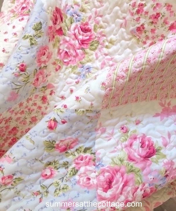 Pink Roses Cottage Blue
