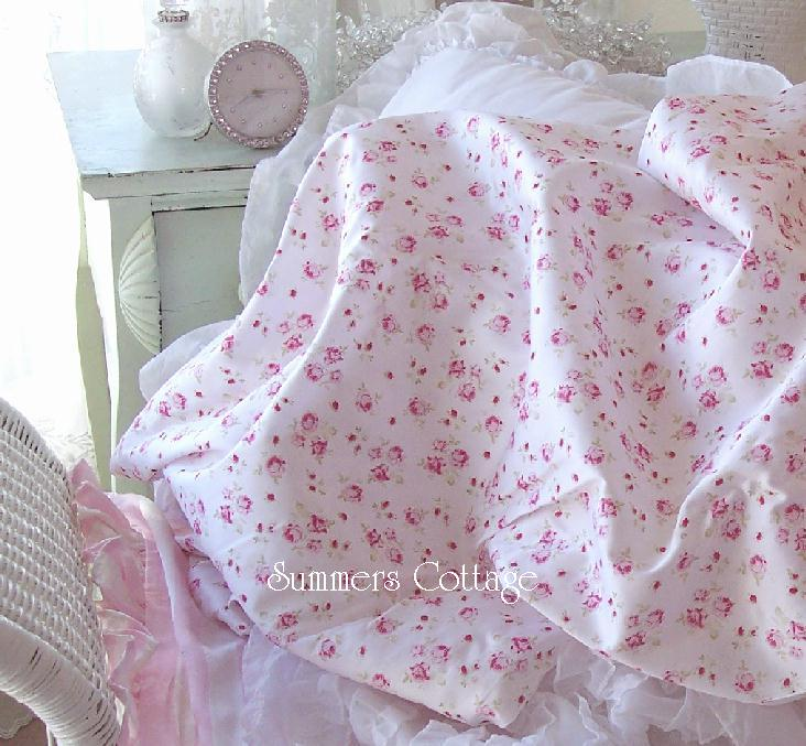 King Sheet Set Shabby French Pink Wine Roses Chic Cotton
