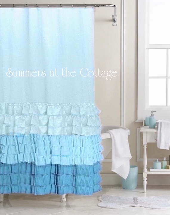 Shabby Chic Malibu Blue Ruffled Shower Curtain