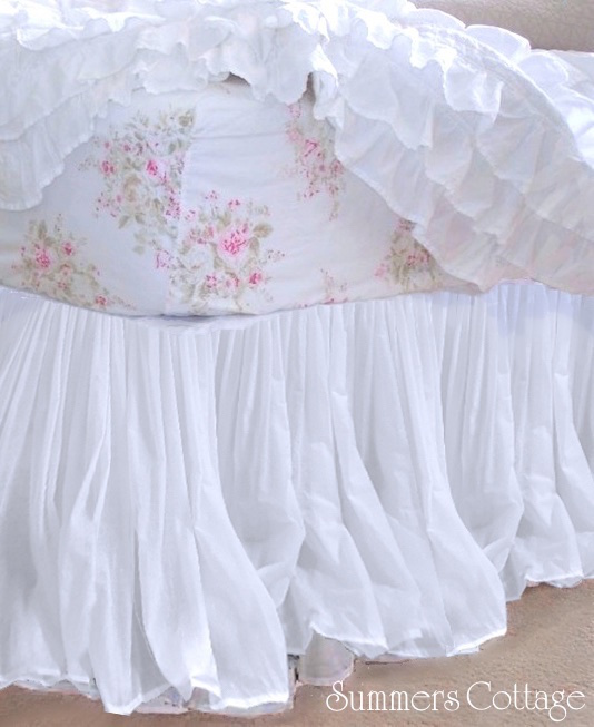 White Sheer Satin Lined Bed Skirt Bed Skirt
