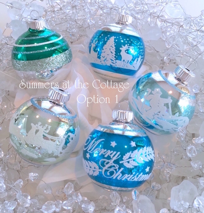Glass Flocked Christmas Tree Ornaments