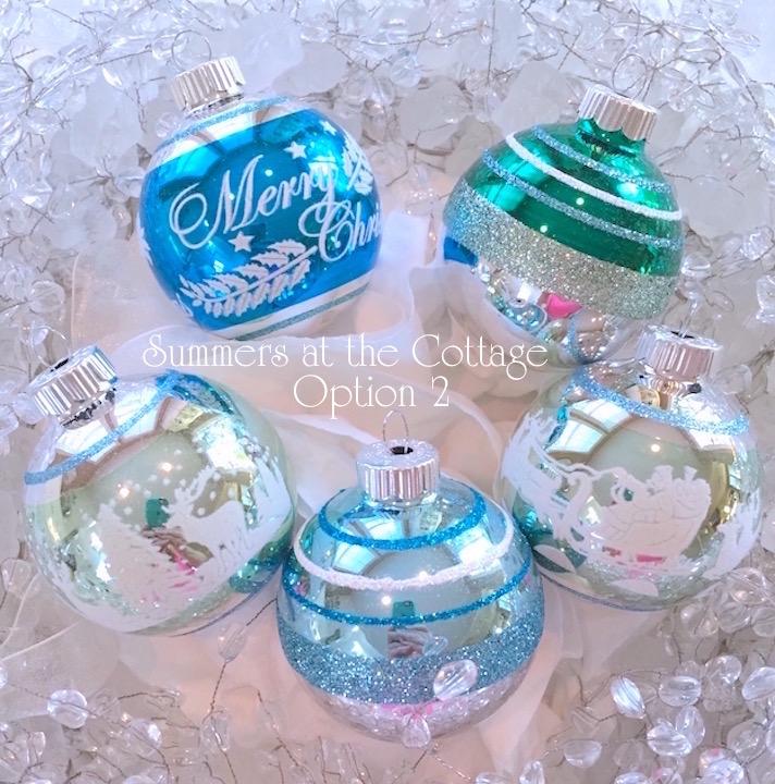 Aqua Glass Glitter Ornaments