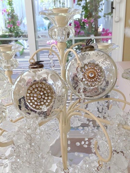 Rhinestones silver and champagne gold mercury glass