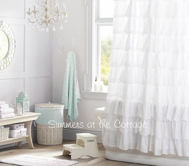 Snowy White Ruffles Shower Curtain Shabby Chic Romantic Homes
