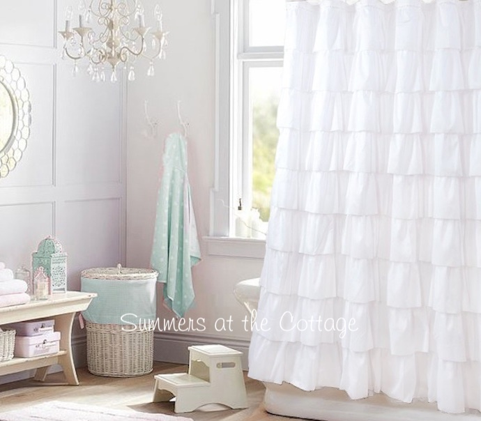 Snowy White Ruffles Shower Curtain