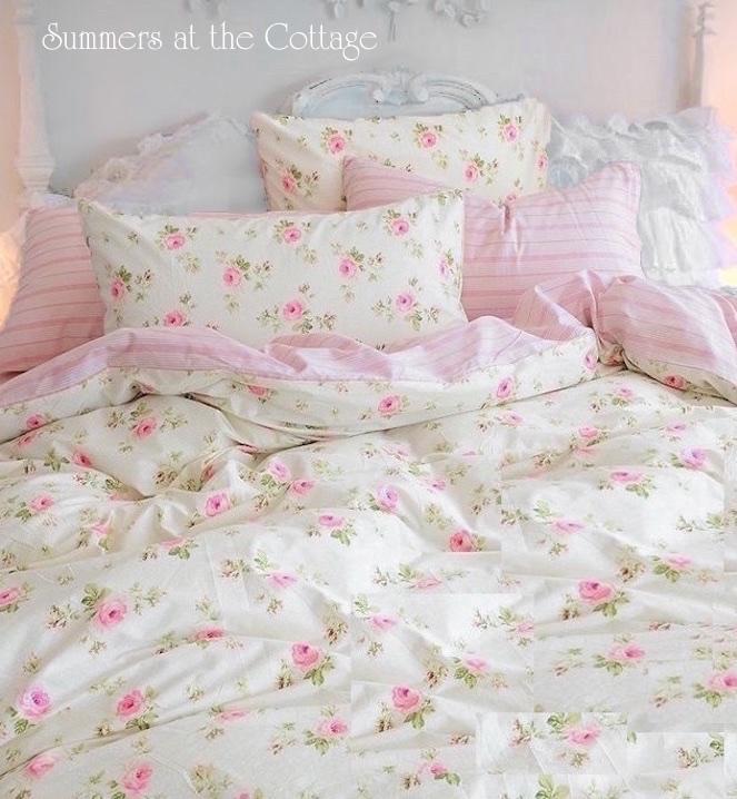 Pink Roses Cabana Stripe Duvet Set