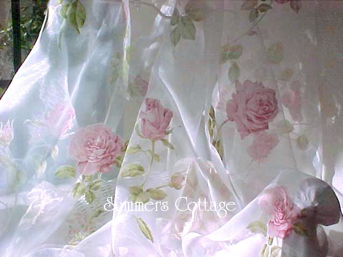 Pink Wildflower Roses Curtain