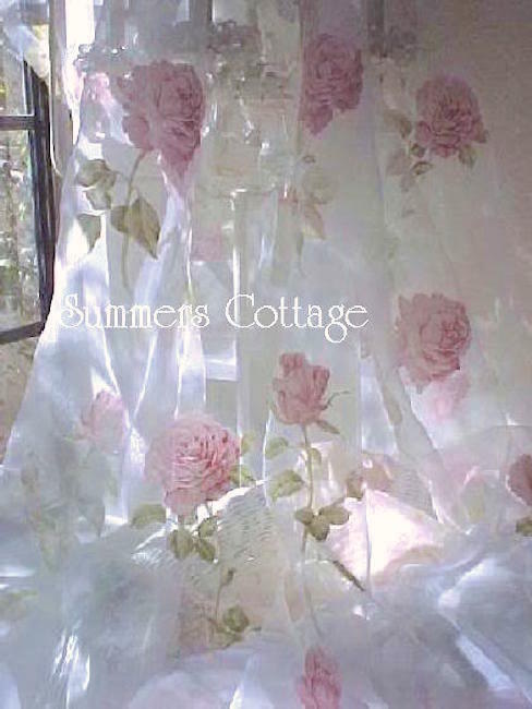 Sheer Silk Pink Roses Curtain
