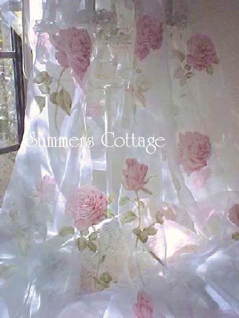 Sheer Silk Pink Roses Curtain