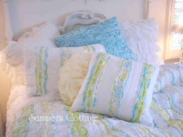 Shabby Chic Beach Pillows : SHABBY COTTAGE CHIC BLUE YELLOW RUFFLES QUEEN QUILT SET eBay