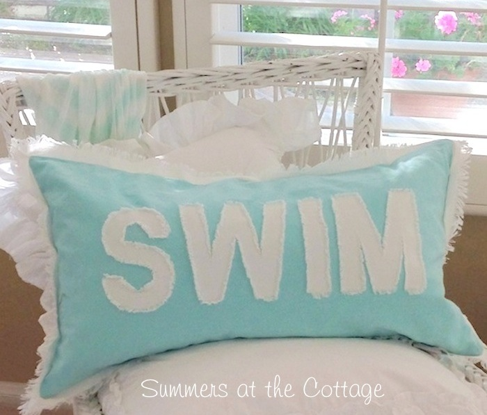 Aqua Pool Blue White Lettered Swim Pillow