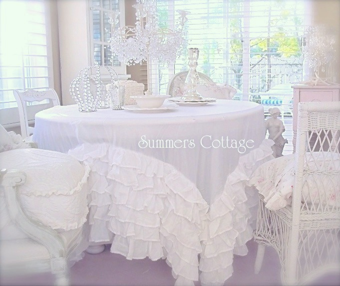 Attirant Dreamy White Bedskirt Turned Into A Tablecloth