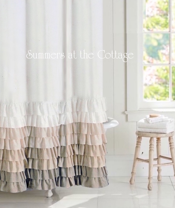 Country Cottage Kitchen Curtains: FRENCH COUNTRY COTTAGE FARMHOUSE TAUPE CREAMY IVORY RUFFLE