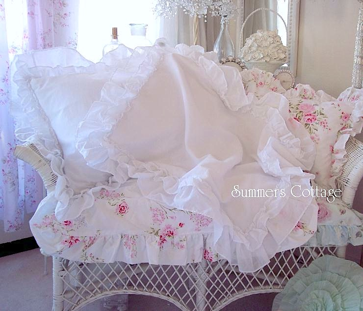 Three Ruffles White Cotton Pillow Sham