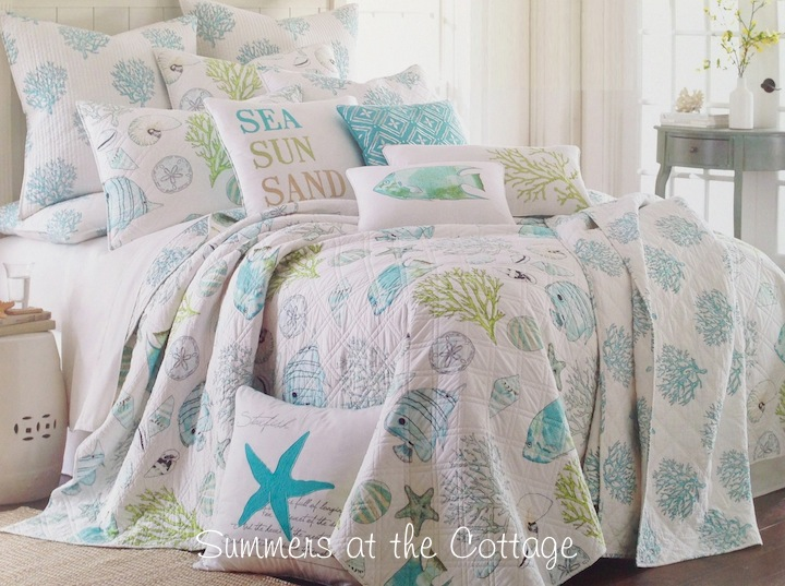 Coastal Seashells Aqua Blue White Quilt Set