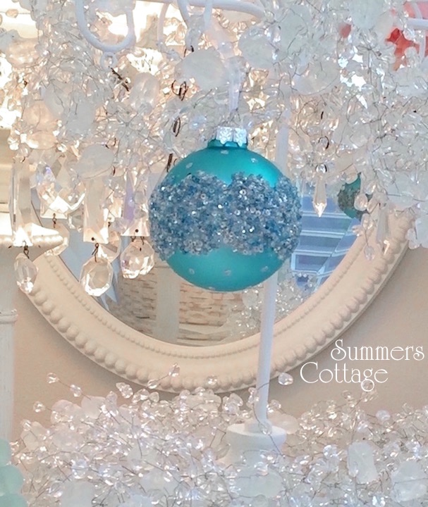 Shiny Aqua Rhinestone Christmas Ornament