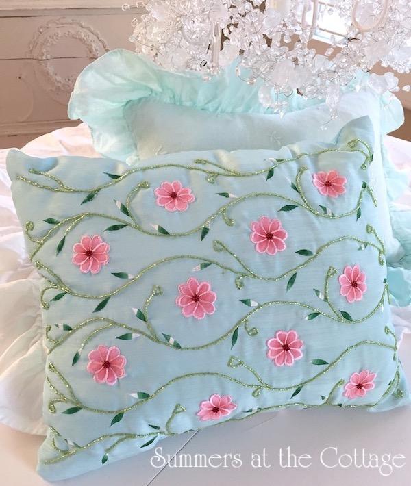 Aqua Blue Beach Pool Pillow