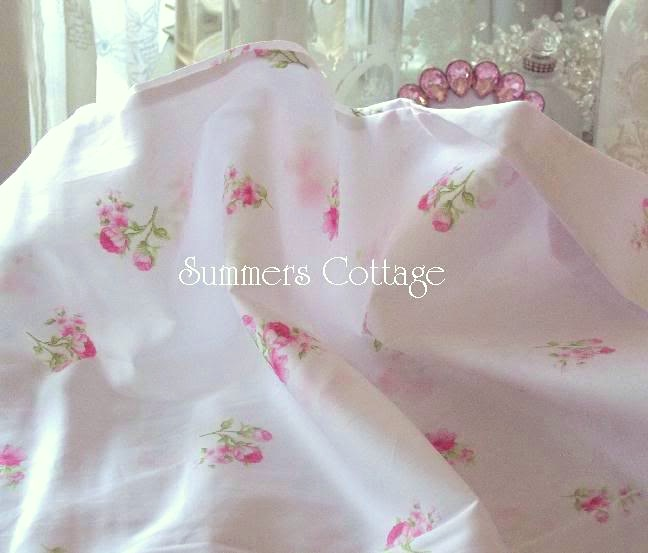 Shabby Sweet Pink Roses on White