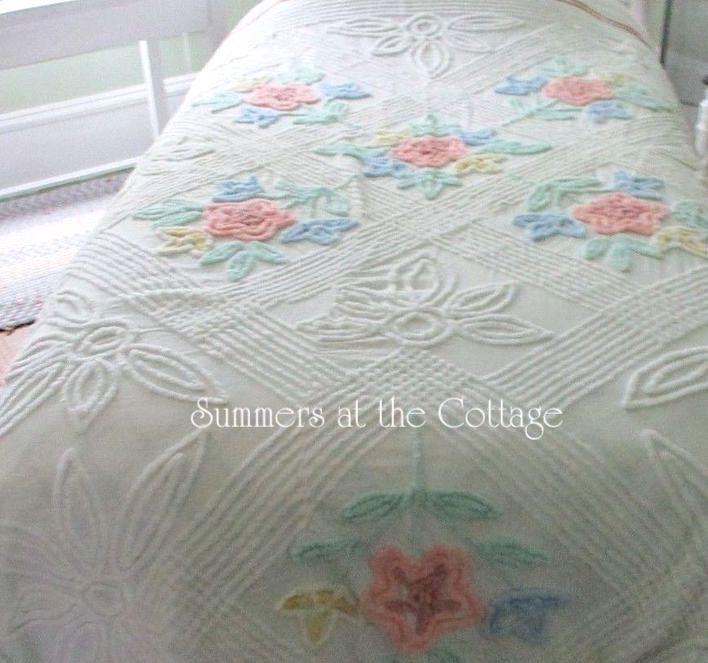 Pastel Vintage Chenille Bedspread