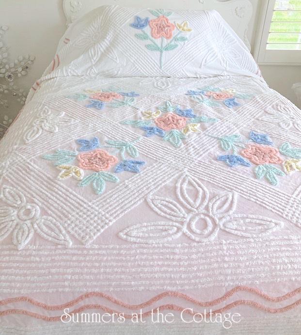 Vintage Chenille Bedspread Pastels