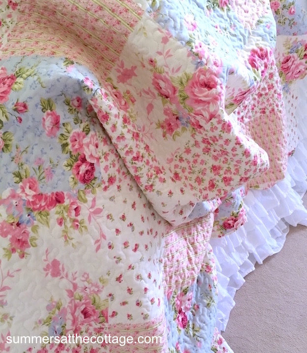 Patchwork Pink Roses Cottage Blue Bedding