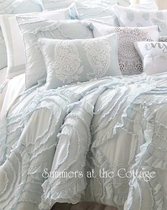 Vintage Cottage Blue Ruffles Quilt Set