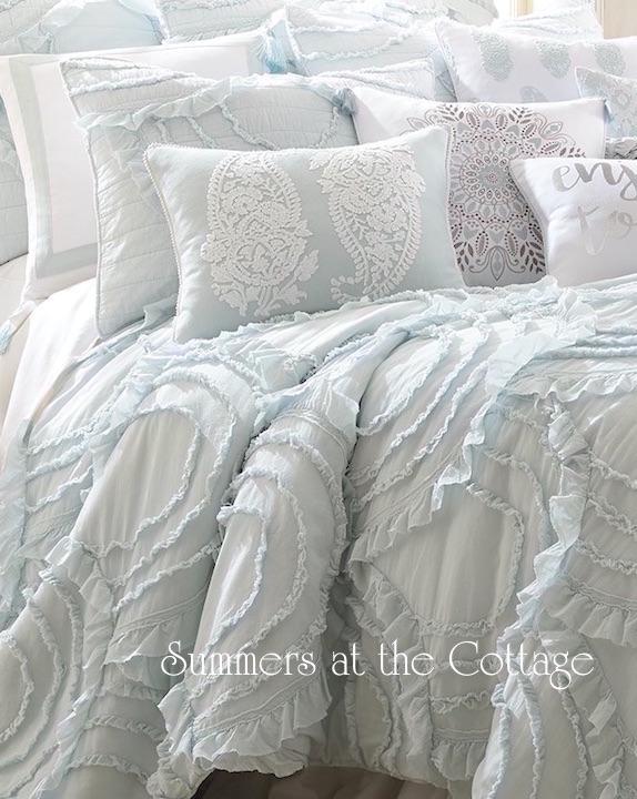 Vintage Cottage Blue Ruffles Quilt Set