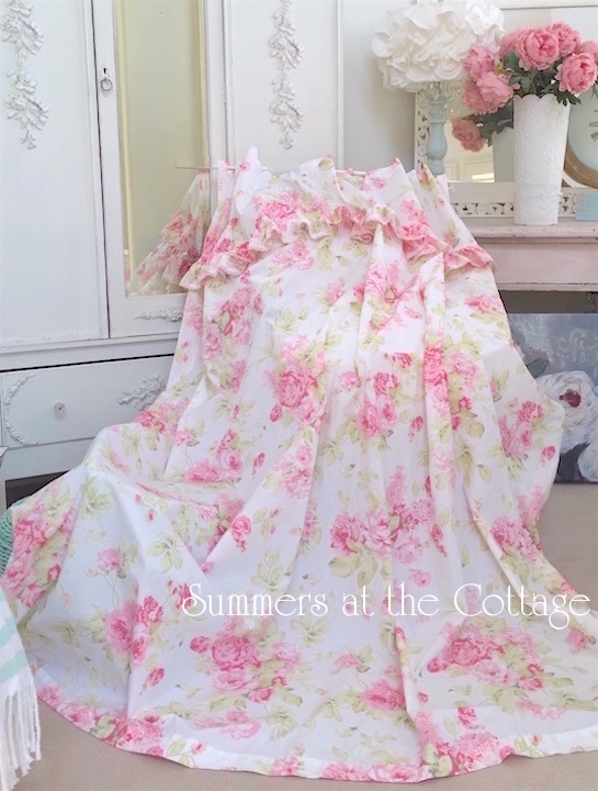 Vintage Peony Roses Ruffles Lace Shower Curtain