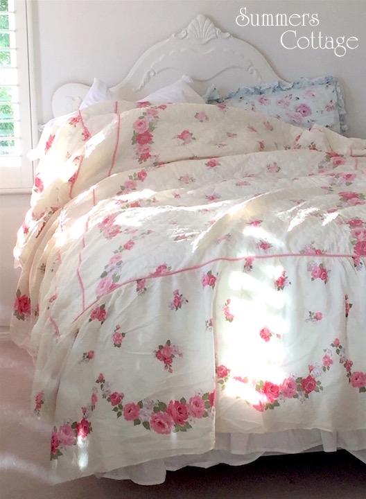 Quilted Vintage Roses Bedspread