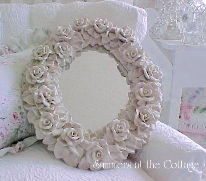 Oval Vintage Roses Mirror