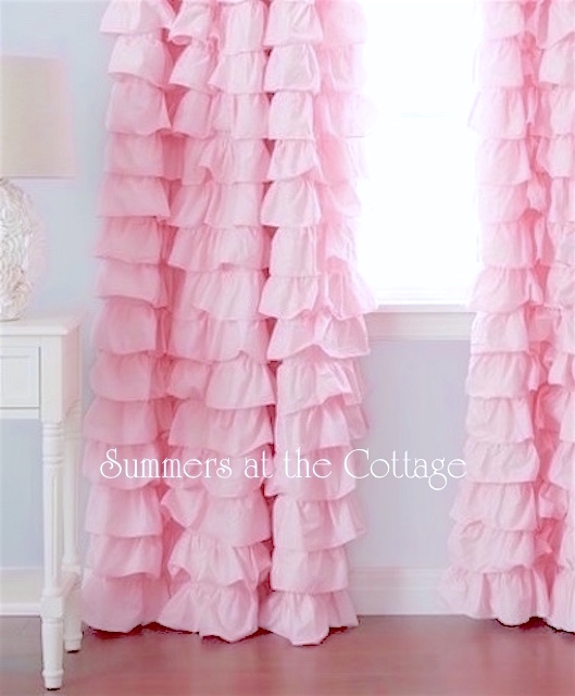 Baby Pink Ruffles Curtains