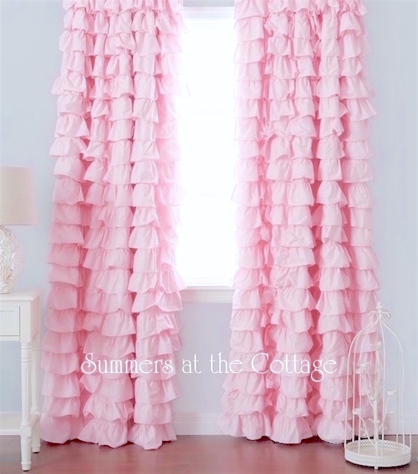 Light Pink Ruffled Curtain Drape Panels