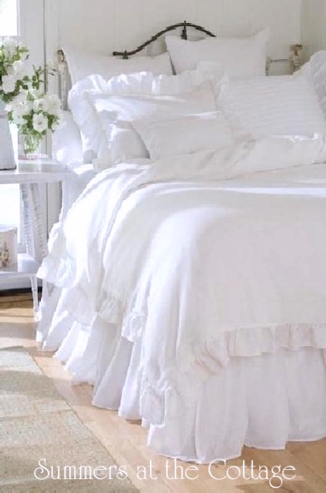 Whispering white ruffled duvet comforter cover set