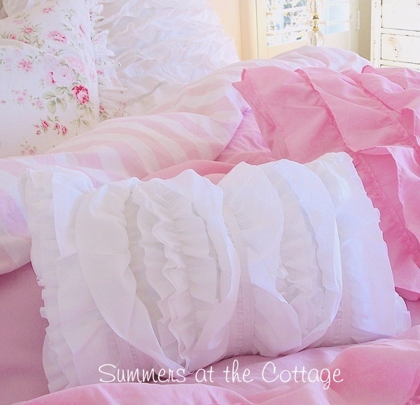 Shabby Sweet White Ruffled Boudoir Pillow