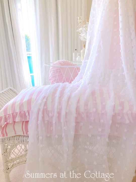 White Chenille Sheer Shabby Chic Drapes Curtains
