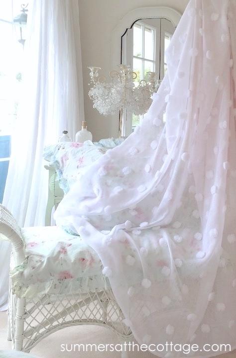 Sheer White Chenille Pops Drapes