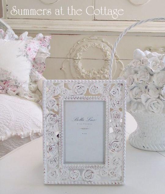 Shabby Chic White Roses Frame