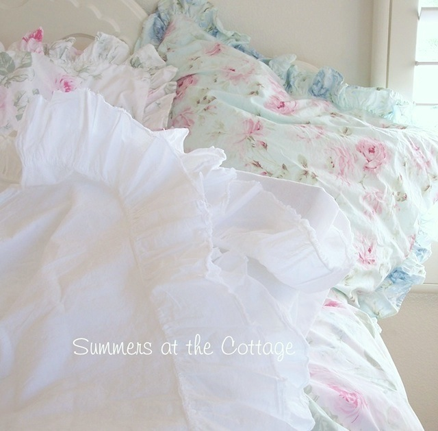 White Frayed Ruffle Sheet Set