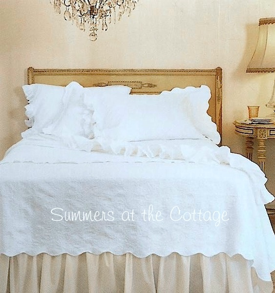White Cotton Frayed Ruffle Sheet Set